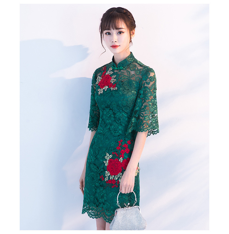 62305370ea92b US $39.73 32% OFF Vestido Oriental Wedding Gowns Modern Red Flower Qipao  Chinese Traditional Women China Dress Cheongsam Sexy Short Party Dresses-in  ...