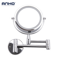 Bath Mirror Led Cosmetic Mirror 1X/3X Magnification Wall Mounted Adjustable Makeup Mirror Dual Arm Extend 2 Face Bathroom Mirror
