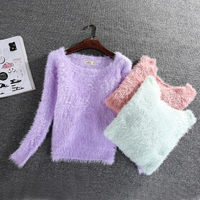 Korean Style Women S Candy Colors Mohair Wool Sweater 2016 Winter Soft Thicken Warm Knitted Sweater