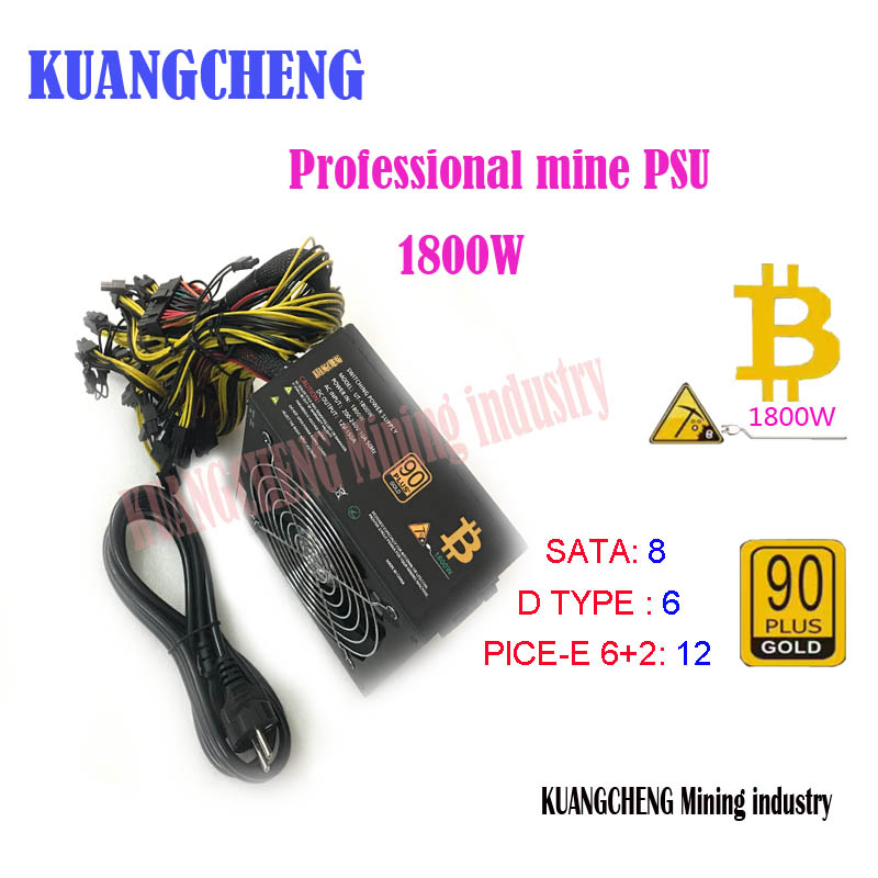 81b83e101d9 ETH ZCASH MINER Gold POWER KENWEI 1800W WITH POWER CABLE ETH miner power  supply for R9