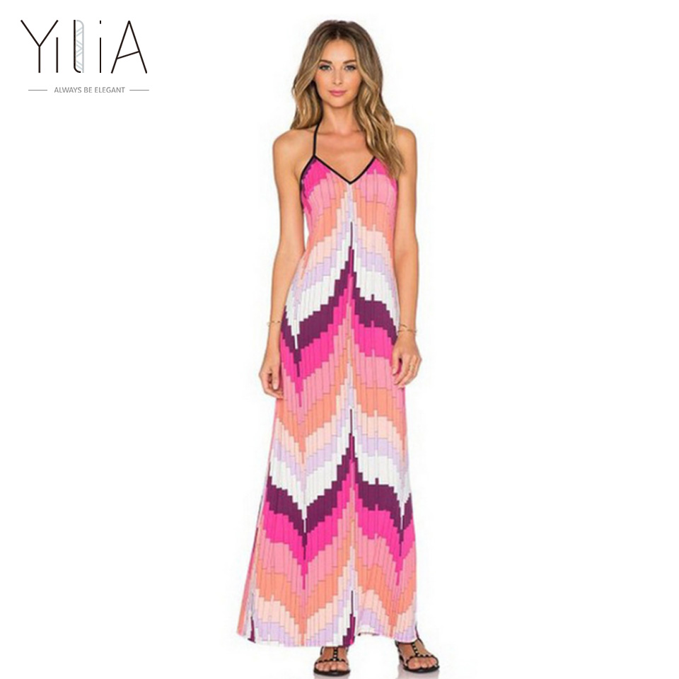 Yilia 2018 verano sexy Halter largo Maxi vestido de las mujeres de ...