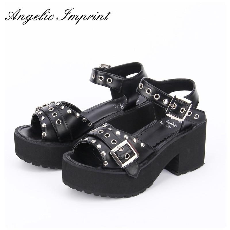 Women s Black White Rivet Platform Peep Toe Punk Sandals Japan Harajuku Lolita Summer Shoes