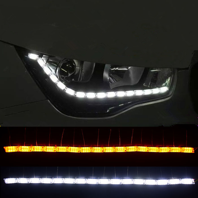 2x Car Flexible Switchback LED Knight Rider Strip Light for Headlight Sequential Flasher DRL Turn Signal Lamp Car-styling