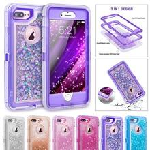 Jetjoy Hibrid Ağır 3D Glitter Dinamik Quicksand Ultra Darbeye Telefon Kılıfları Kapakları için iPhone X 8 Artı 6 s artı