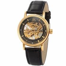 SEWOR Clock Men Thin Case Crystal Wristwatch Golden Black Skeleton Relogio Masculino Mechanical Hand-wind Male Wrist Watch