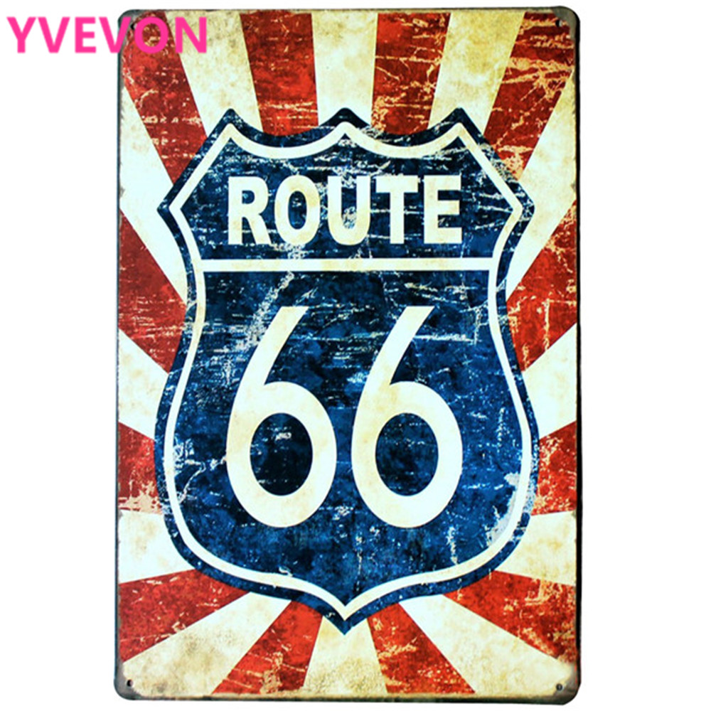 ROUTE 66 NEON Road SIGN Decor Placaj metalic Garage Placă pentru magazin de mașini bar pub zid de vacanță pictura SPM13-3 20x30cm B1