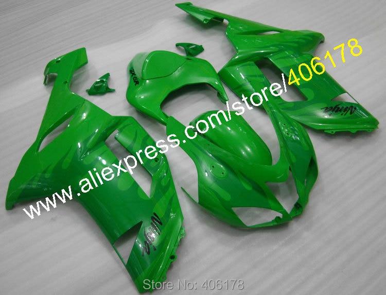 Hot Sales,For Kawasaki ZX-6R 2007 2008 Ninja ZX6R 07 08 636 zx636 Green Flame motobike parts fairing kit (Injection molding)