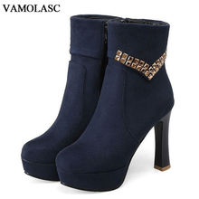 VAMOLASC New Women Autumn Winter Faux Suede Ankle Boots Sexy Zipper Square High Heel Boots Platform Women Shoes Plus Size 34-43