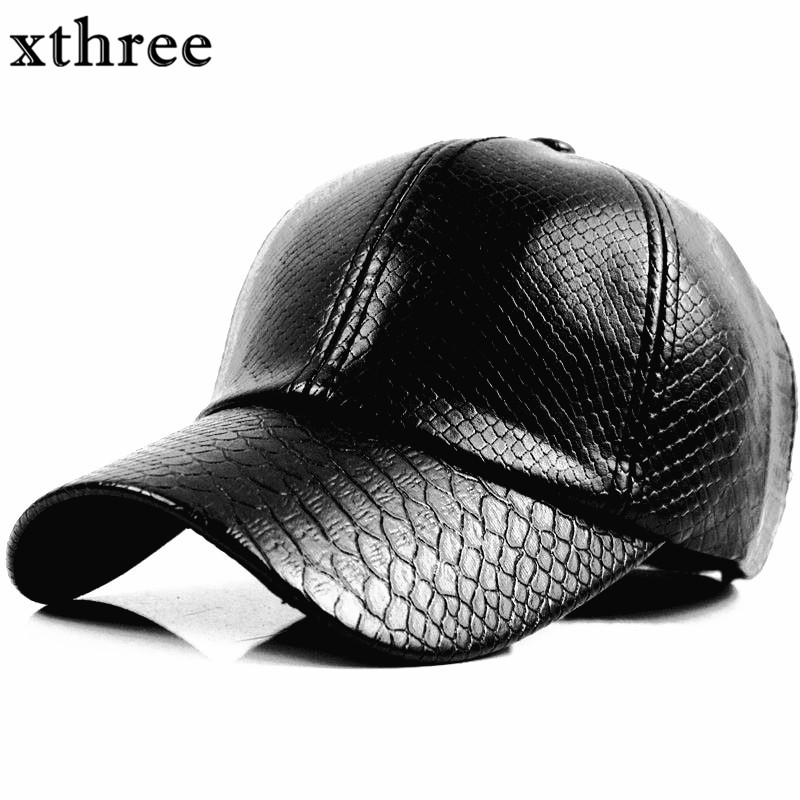 Xthree fashion Baseball Cap women fall faux Leather cap hip hop snapback Hats For men winter hat for women fashion solid color baseball cap for men and women