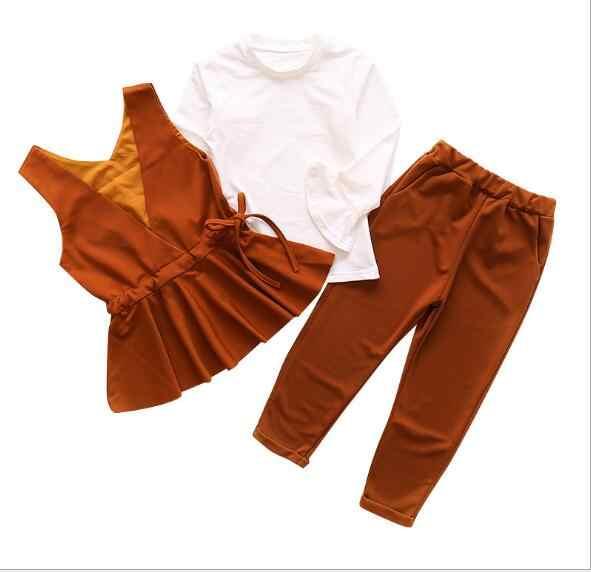 0d0cd43be6d6e 2019 autumn children's clothes girls sets solid sleeveless kids girl sets  for girls formal suits vest++pants+tshirt 3 pieces set