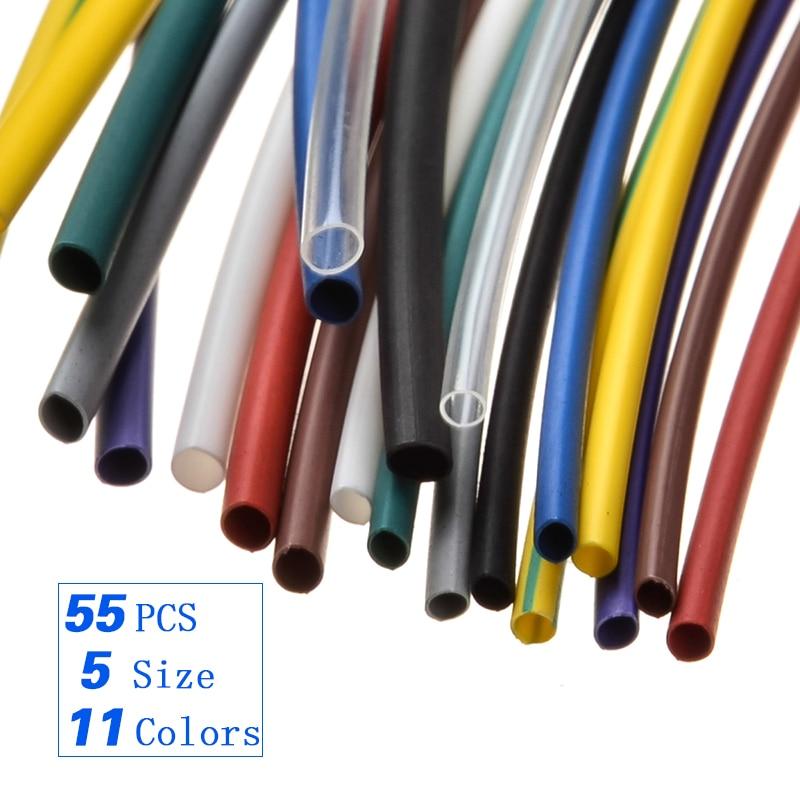 55 sztuk uniwersalne rurki termokurczliwe zestaw 11 kolorów 1.0 /1.5/2.5/3.0/5.0mm asortyment węże termokurczliwa rurka