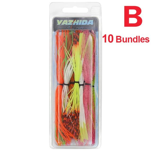 10 Bundles 50 Strands Silicone Skirts Fishing Skirt Jig Random Rubber A LU T1S9