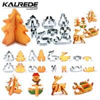 KALREDE 8 Piece 3D Christmas Cookie Cutters Set Stainless Steel Food Grade Christmas Tree Snowman Reindeer