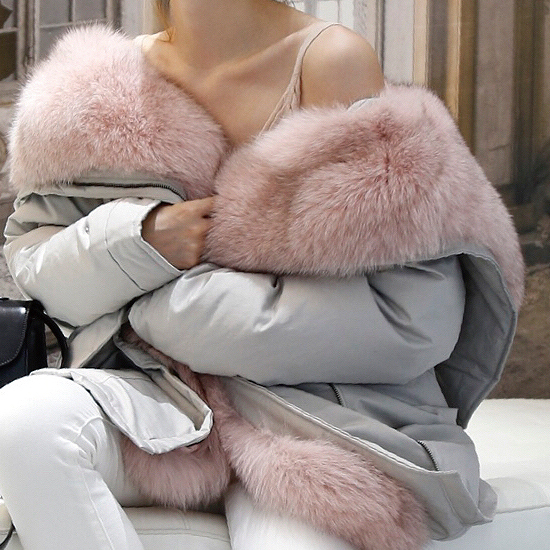 pink real fur coat winter clothes women real fox fur long parka white duck down jacket 2018 bew christmas clothes ladies luxury
