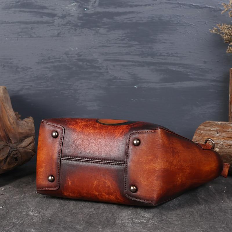 Genuine Cow Leather womens handbags guitar prints vintage female totes hand painting original designer crossbody messenger bags