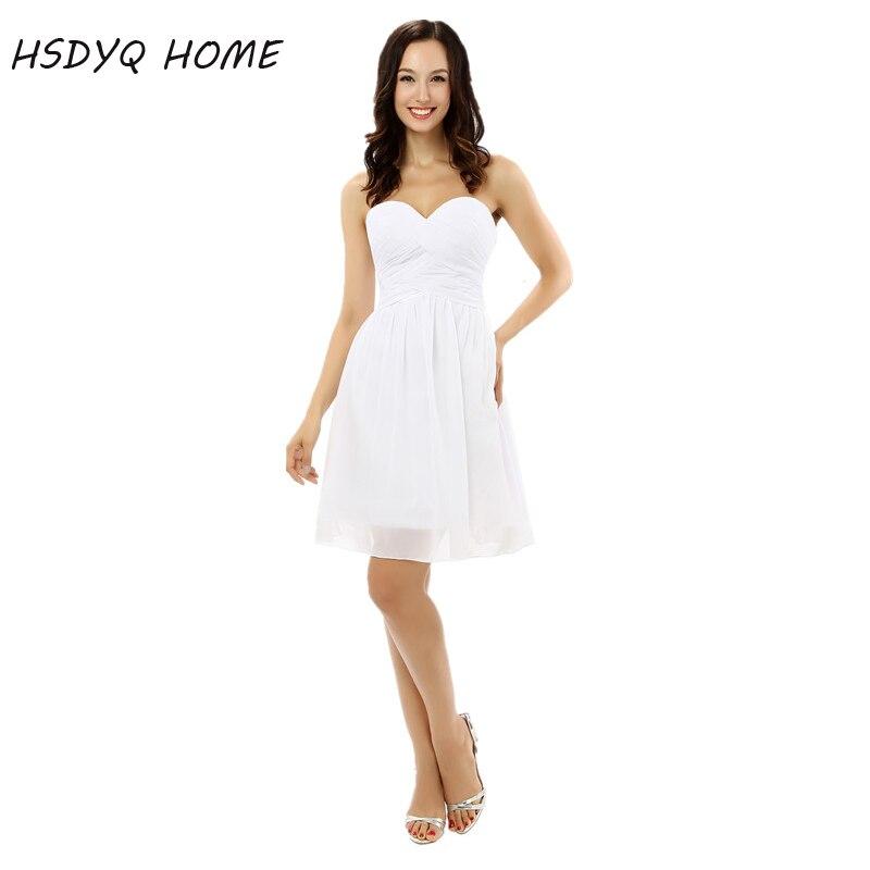 Hsdyq Hause Sommer Weiß Günstige Homecoming Kleider Einfache Minipartei-kleid Abschlussballkleider