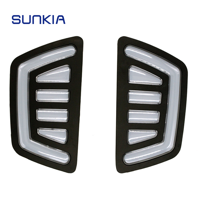 2Pcs/Set SUNKIA Waterproof LED Daytime Running Light DRL For Ford Ranger 2015-2017 With Turning Signal Fog Lamp Modify sunkia 2pcs set waterproof led abs plastic daytime running light drl for toyota highlander with turning signal light