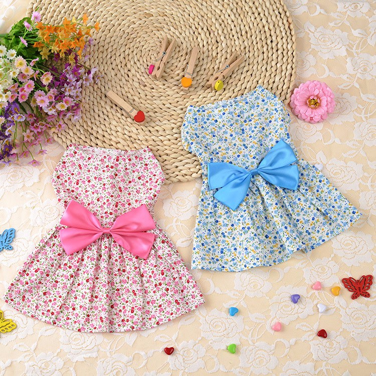 Cute Dog Dress Summer Soft Cotton Printing Bow Pet Puppy Clothes 3