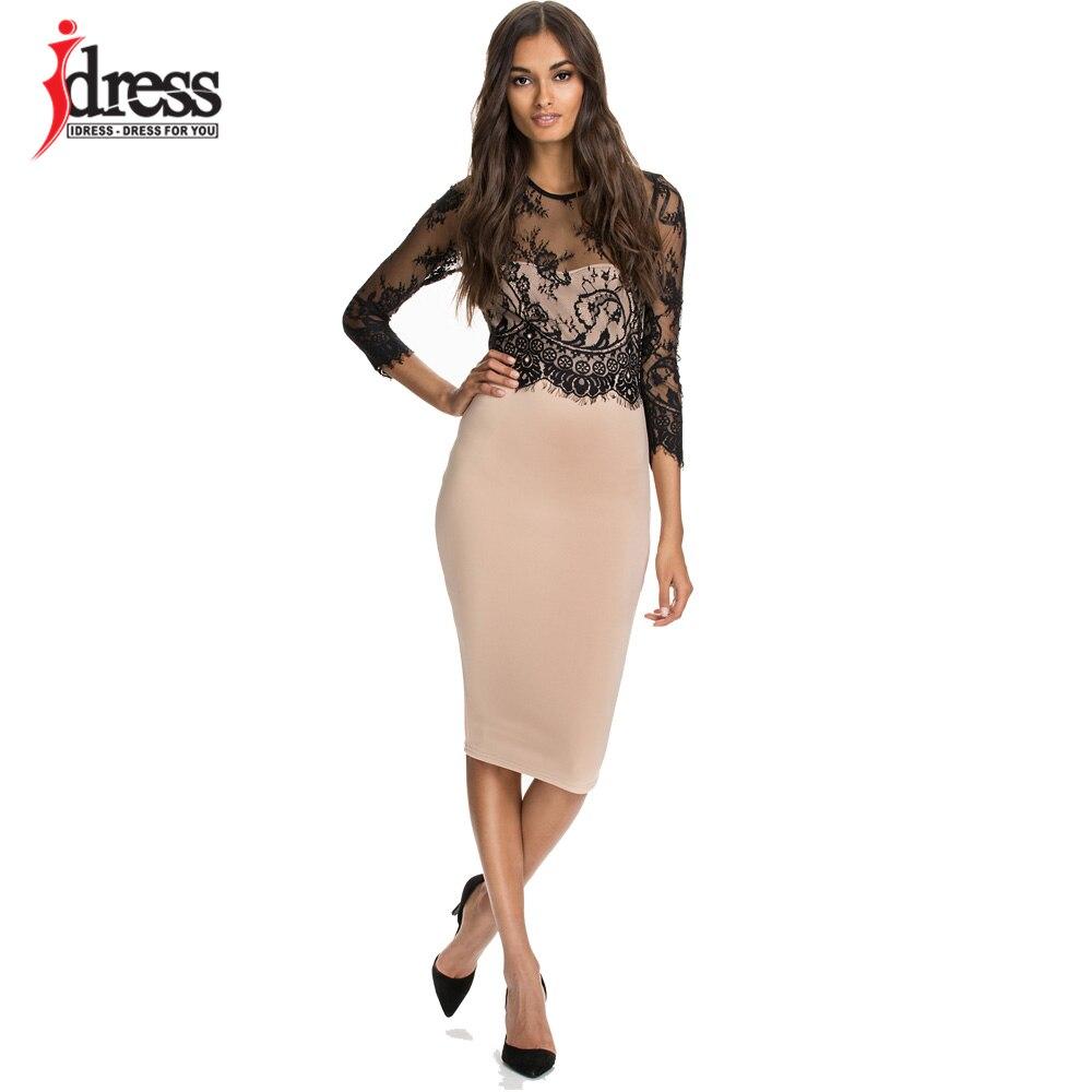Idress 2017 New Summer Style Office Lady Elegant Midi