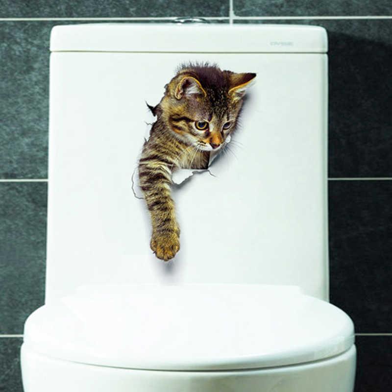 漫画の動物のステッカー猫 3D 壁トイレステッカー PVC 漫画浴室かわいい子猫子犬小型ハムスター装飾ポスター壁画アート