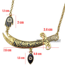 muslim turkish evil eye Imam Ali Sword Hamsa Hand Of Fatima necklace, islam jewelry fashion 55cm chain