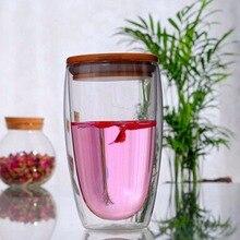 Double Layer Wall Glass Tea Cup Bamboo Lid Transparent Coffee Milk Insulation Mug borosilicate glass Drinkware