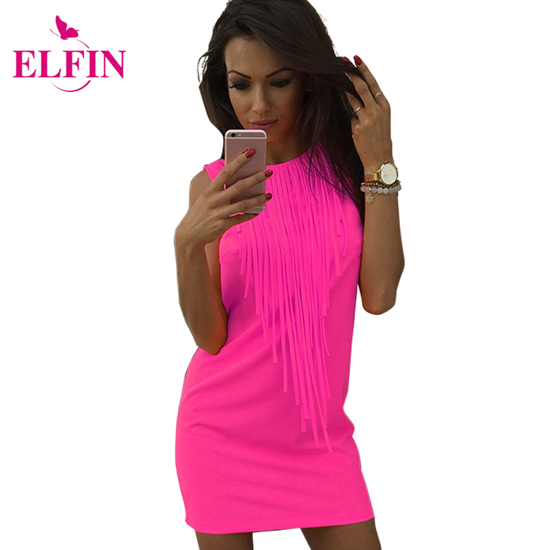 Sexy Women Dress Tassel Fluorescerende Farge Sommer Casual Dress Ermeløs Slim Fit Mini Dress Lady Vestidos LJ4898R