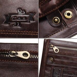 Image 5 - CONTACTS oryginalne męskie portfele skórzane moda marka Bifold projekt męska portmonetka wysokiej jakości mężczyzna karty etui na dowód Dropshipping