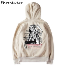 High street fashion trend in the add wool fleece hoodies KANYE print death men and women skeleton