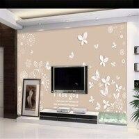 Beibehang Custom Photo Wallpaper Beautiful Romantic Warm 3D Butterfly Pattern TV Background Wall Decorative Wallpaper