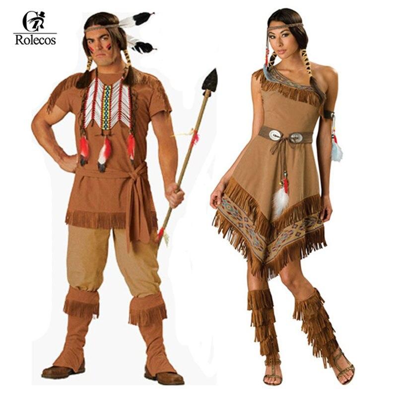 ROLECOS Brand Indian Women Pocahontas Aboriginals Cosplay Costume Fancy Dress Costume Unisex Halloween Costume And Accessories