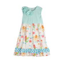 Boutique Sweet Filles Sans Manches Robe Ciel Bleu Avec Flora Octopus Tissus Swing Vêtements Enfants Robe DX024
