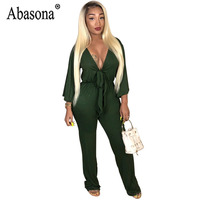 a674761a6cff Abasona Long Straight Solid Women Jumpsuit Sexy V Neck Bandage Jumpsuit  Romper Woman Wrist Sleeve Club