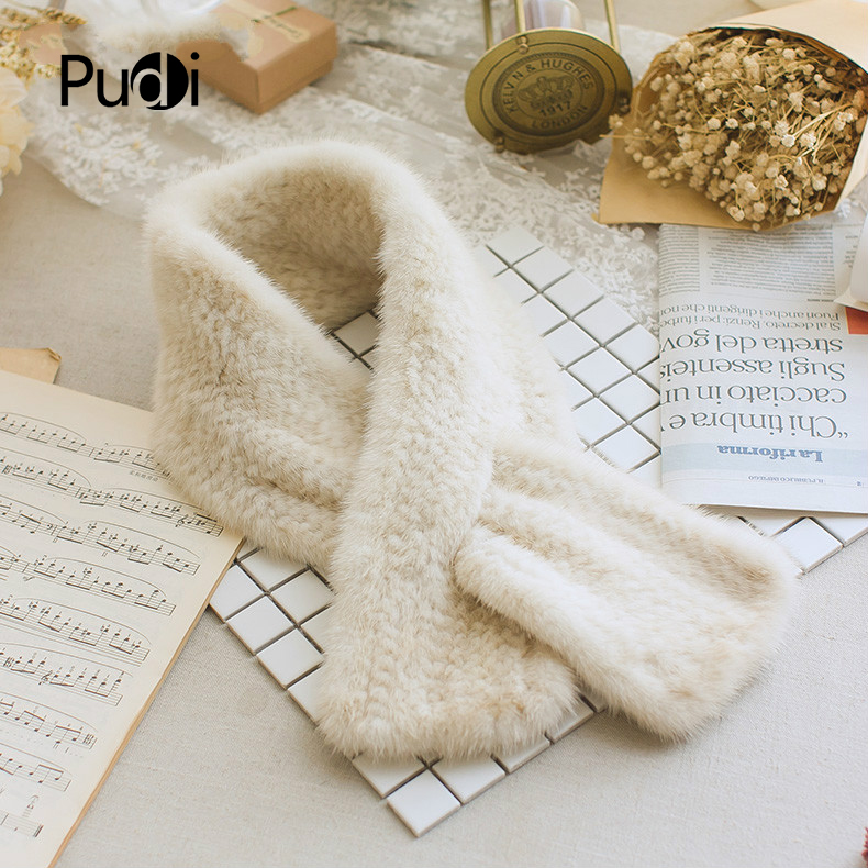 SCM051 Women's real mink fur knitted knit   scarf   winter warm genuine mink fur   scarves     wraps   length 90cm width 12cm