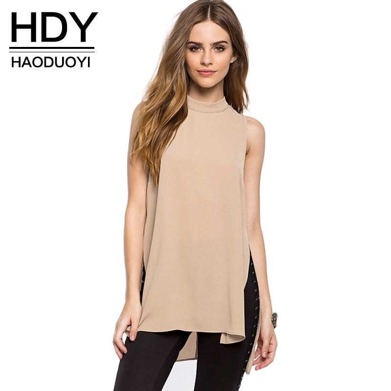 Haoduoyi 2017 mujeres de la manera tops sin mangas espalda femenina hdy gasa hig