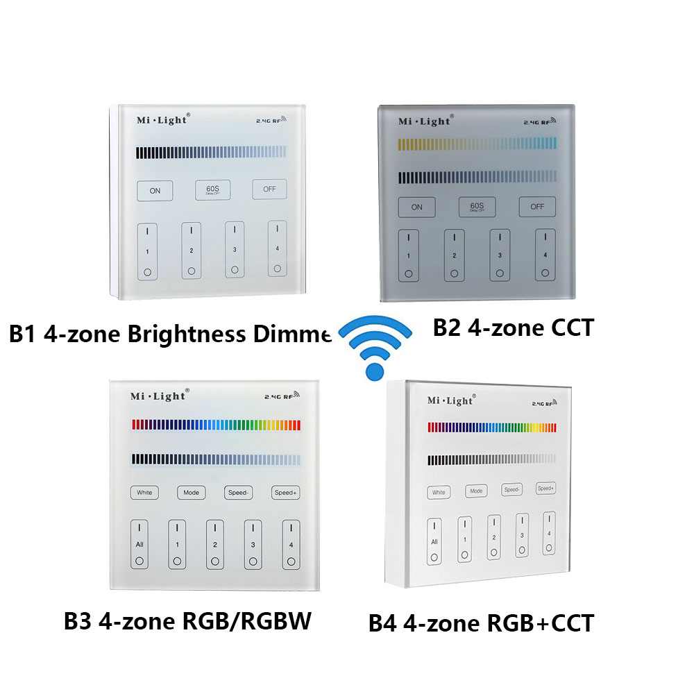 Miboxer B1 B2 B3 B4 2.4G Bezdrátový 4zónový inteligentní dotykový panel Dálkový ovladač RGB / RGBW / CCT Stmívač jasu pro LED světlo