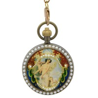 new Antique Pearl Paint Mechanical Hand Wind Pocket Watch Brass Chain wholesale ship with tracking number H062