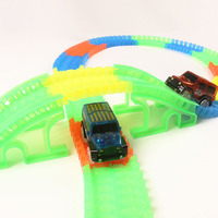 160 360 Pcs Set DIY Tracks Assembly Toy With LED Mini Car Tunnel Bridge Glowing In