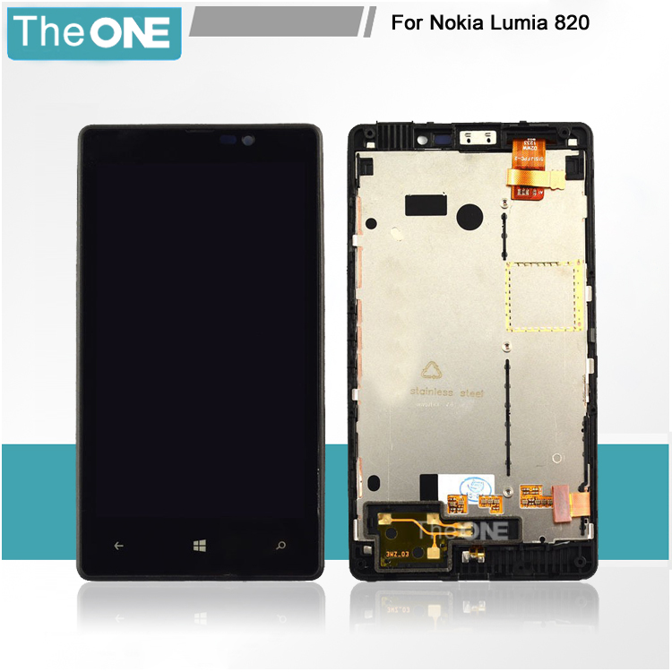 +Frame Black LCD Display + Touch Screen Digitizer Assembly Replacement For Nokia Lumia 820 Free Shipping