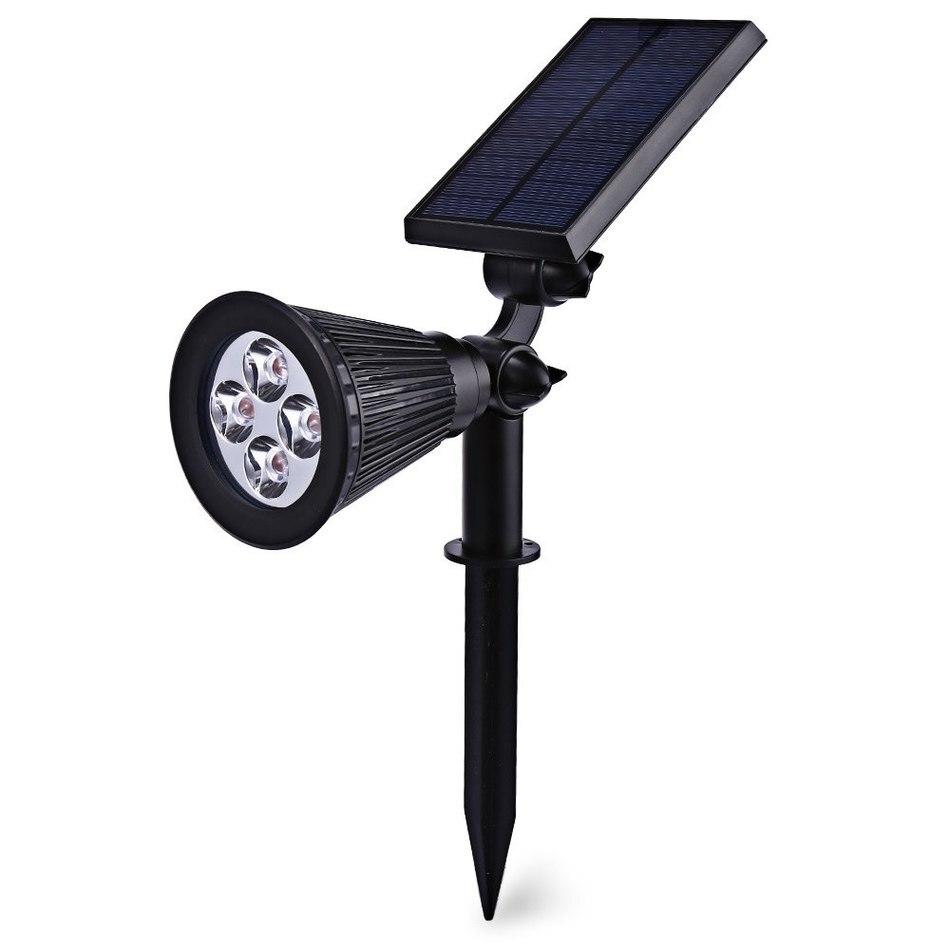 Outdoor 4 LEDs Solar Power Garden Emergency Lights Spotlight Waterproof White Landscape Light Wall Decoration Light Floodlight