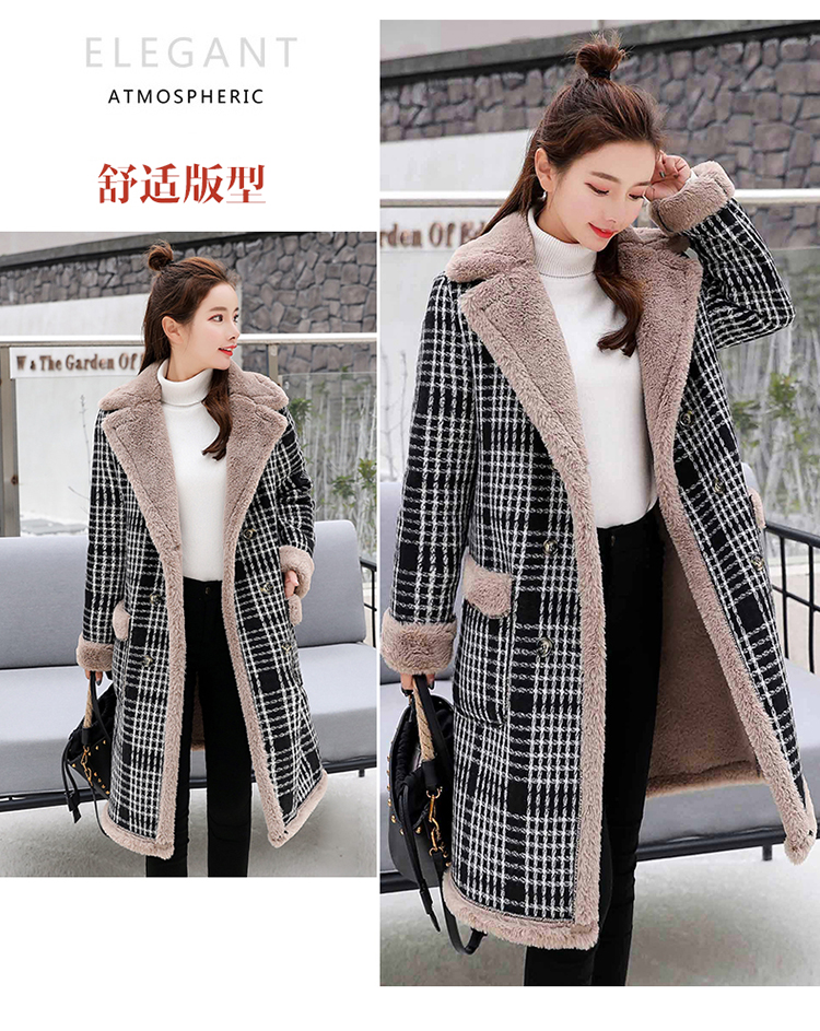 Lamb fur-padded 2018 winter women's new loose-fitting mid-length padded check wool coat, cotton-padded jacket 7