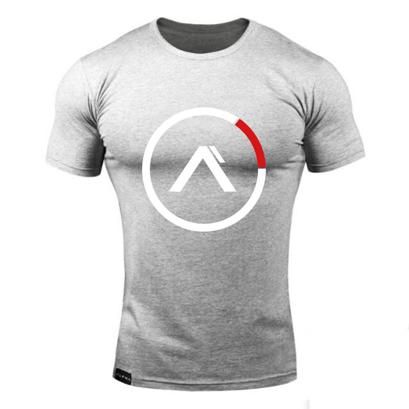 2019 New Men T-shirt Short Sleeves Print ALPHA Circle Male Solid Cotton Mens Tee Summer Fitness Bodybuilding Clothing