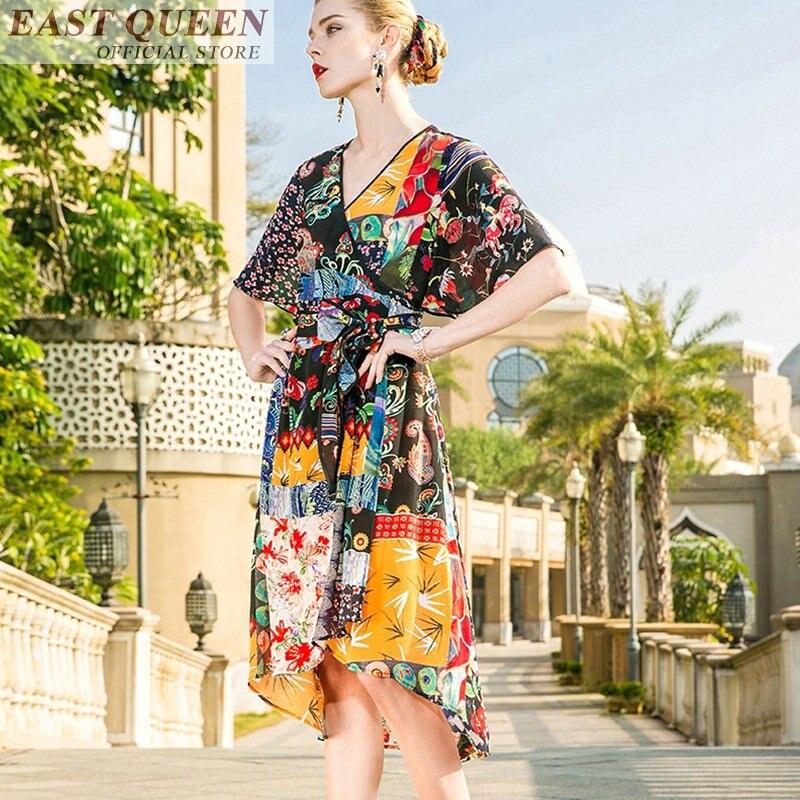 Genou O Des Dames 1 Moitié Sexy Manches Robes D'été longueur Robe Femmes 2018 L cou Dd795 ligne Bohème A Ceintures Plage Imprimer Avec wzx6wPA