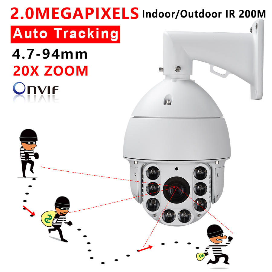 CCTV Security Ambarella 1/2.8 High Speed Dome PTZ Camera HD IP Network 1080P 2.0MP Auto Tracking 20X Optical ZOOM IR 200M Audio