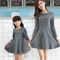 2015 otoño vestidos madre hija juego de madre e hija ropa family look niña y la madre mujeres vestidos vestido de época