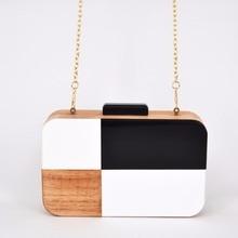 Black and White Designer Handmade Wooden Evening Bag