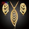 Chapado En Oro cristal austriaco Regalo del Partido Las Mujeres de moda Collar de Cadena Pendientes de La Manera de Nigeria África Sistemas de La Joyería Nupcial de la boda