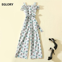 High Quality Cotton Jumpsuits 2019 Summer Casual Jumpsuit Women Sexy Spaghetti Strap Floral Print Ankle Length Jumpsuit Ladies