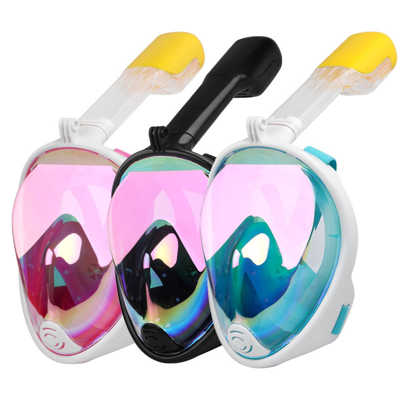 2019 New Plated Diving Mask Scuba Mask Underwater Anti Fog Full Face Snorkeling Mask Women Men Swimming Snorkel Diving Equipment מסכת צלילה מלאה