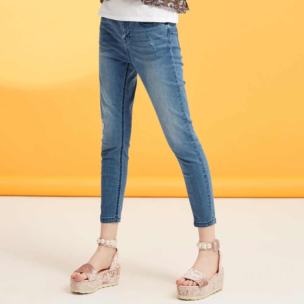 Metersbonwe vaqueros delgados para mujer Jeans diseño agujero mujer azul Denim lápiz pantalones de alta calidad cintura elástica Mujer Jeans